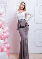 Длинное вечернее платье - рыбка с баской и гипюром 6603578