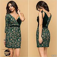 Коктейльное платье зеленого цвета с одним рукавом. Модель 16345