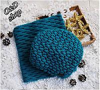 Женский набор шапка и хомут с узорной вязкой 270775