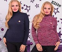 Женский вязаный свитер в больших размерах с высоким горлом 615280
