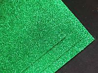 Фоамиран глиттерный на клеевой основе, 2 мм, 20x30 см, Китай, ЗЕЛЕНЫЙ, фото 1