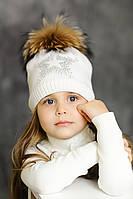 """Зимняя шапка """"Звезда"""" белая с меховым помпоном"""