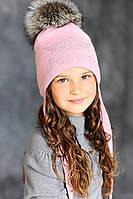 Зимняя шапка с меховым помпоном S
