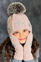 Зимняя шапка с меховым помпоном пудра (светло-розовый)