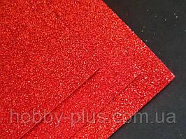 Фоамиран глиттерный на клеевой основе, 2 мм, 20x30 см, Китай, КРАСНЫЙ
