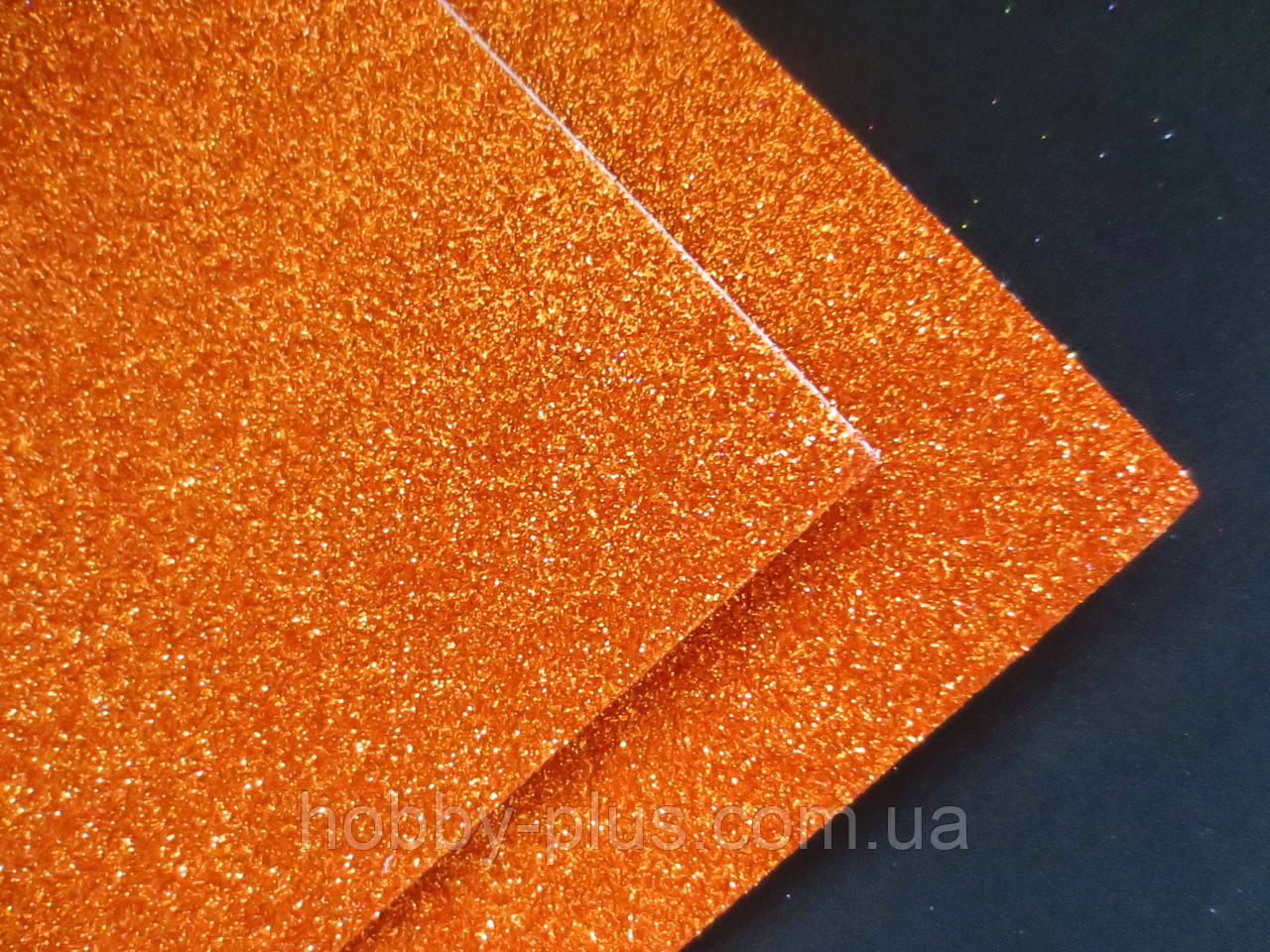 Фоамиран глиттерный на клеевой основе, 2 мм, 20x30 см, Китай, ОРАНЖЕВЫЙ