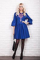 Молодежное женское платье с вышивкой в украинском стиле, синее