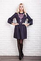 Стильное женское платье с вышивкой в украинском стиле, черное