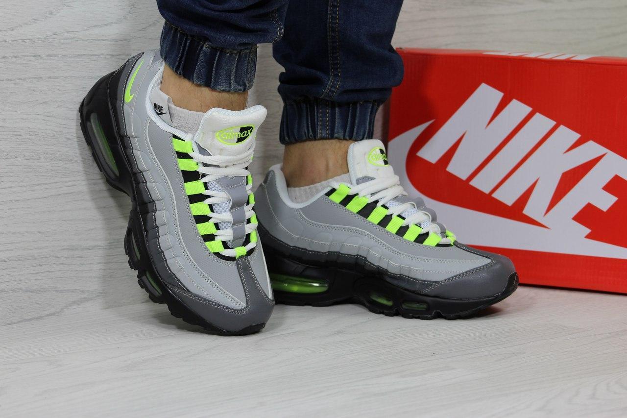 Кроссовки мужские Nike air max 95,серые с салатовым