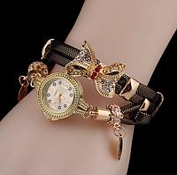 Наручные часы женские с золотистым ремешком Золотая бабочка код 331