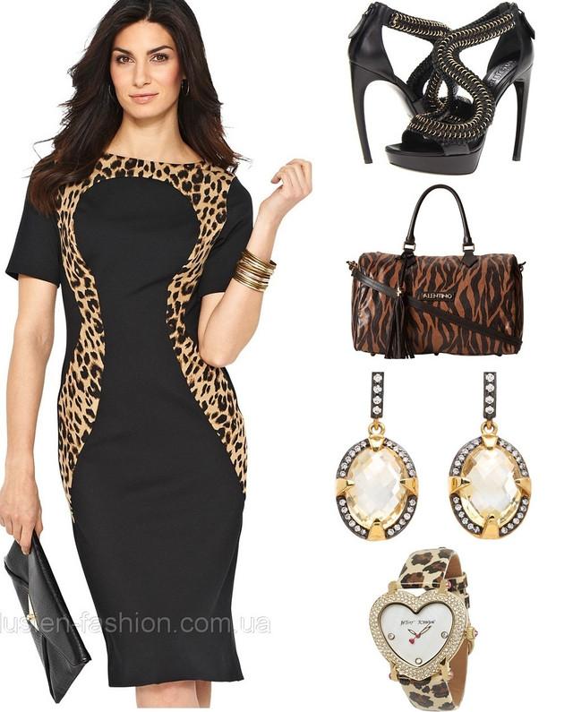 Платье с принтом животным хищным деловое