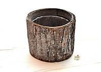 Декоративное кашпо из коры, высота 7 см, диаметр 8 см, цвет серый