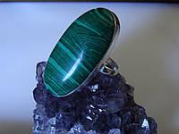Серебряное кольцо с натуральным малахитом Индия.