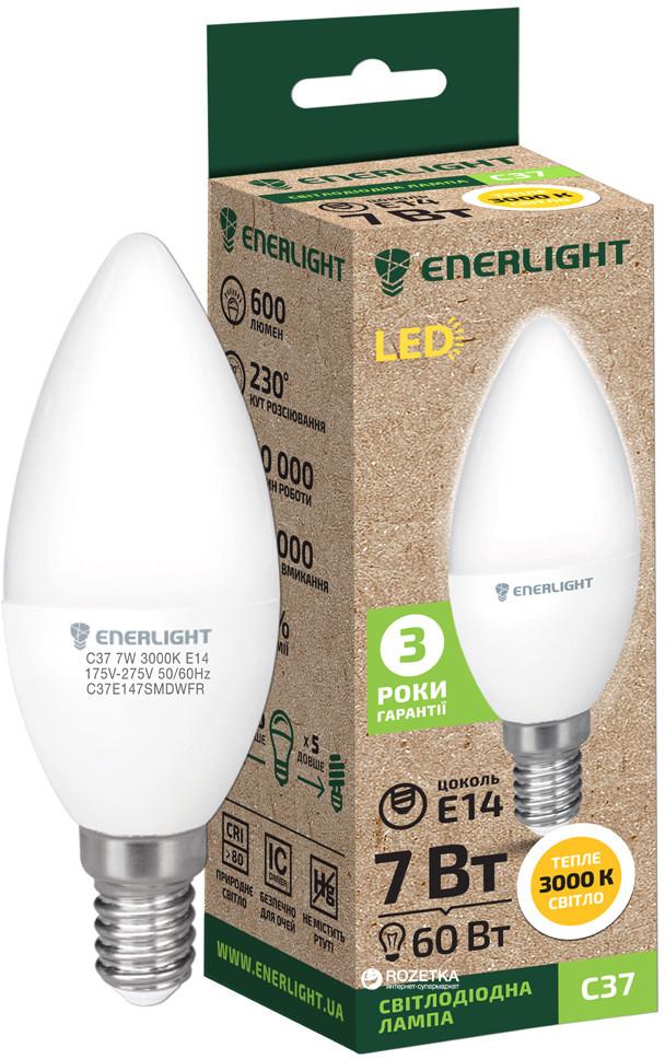 Лампа светодиодная ENERLIGHT С37 7Вт 3000K E14
