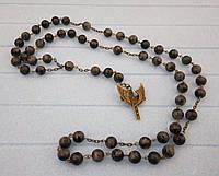 Розарий Лабрадорит, четки розарий из натурального камня, четки католические, розарий классический 59 бусин