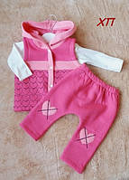 Теплый костюм тройка с начесом трехнитка для девочки с жилеткой Турция на 9 мес., 1 год, фото 1