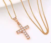 Кулон Крест Позолота РО с цирконами (без цепочки)  Длина 2,8см