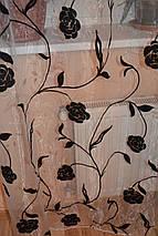 """Органза флок """"Розочки"""" черные, фото 2"""