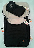 Детские зимние конверты на овчине с прорезями под ремни в коляску и санки, есть отдельно муфты в тон конверта