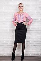Элегантная женская вышиванка с цветочным узором, розовая