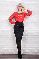 Элегантная женская вышитая блуза с цветочным узором, красная