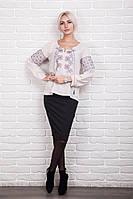 Стильная женская вышитая блуза с цветочным узором, светло-бежевая