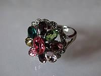 Яркое кольцо с мульти камнями в серебре радужный цветок Индия