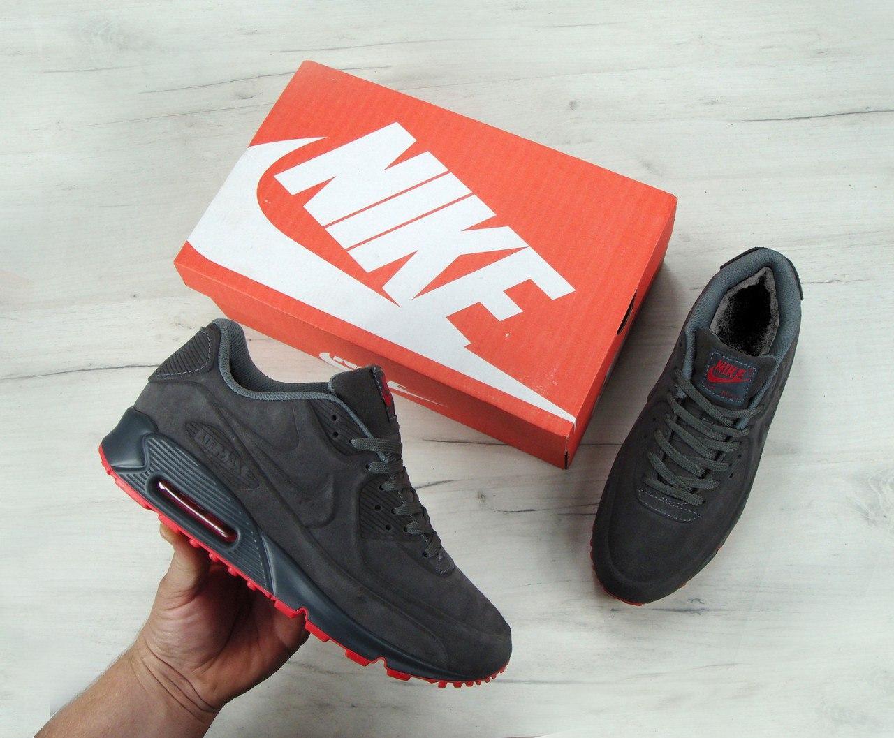 """Зимние мужские кроссовки Nike Air Max 90' VT Tweed """"Grey"""", найк, айр макс. ТОП Реплика ААА класса."""