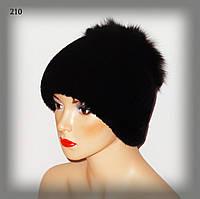 Женская меховая шапка из Rex Rabbit (с отделкой из черного песца)