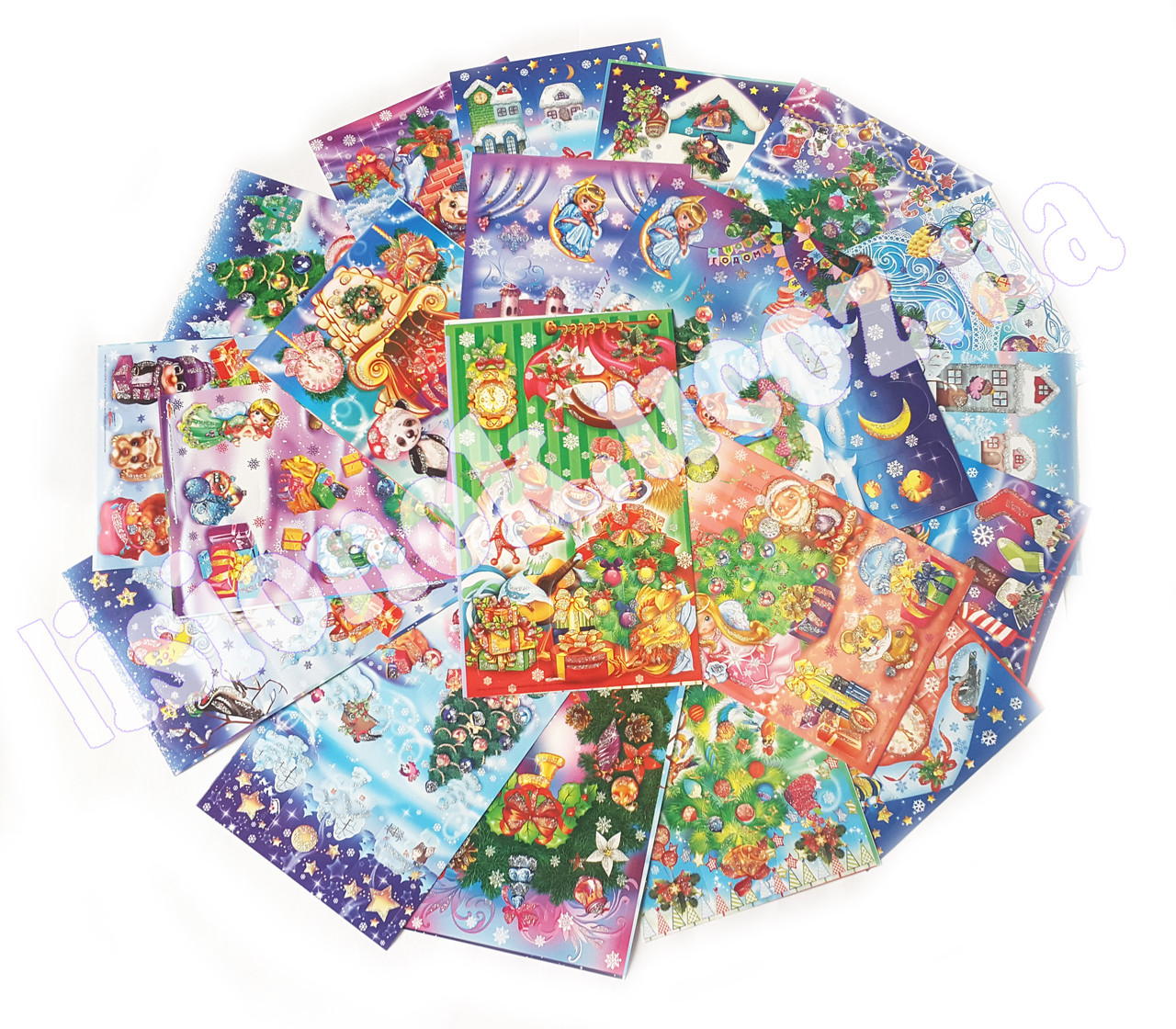 Новогодние фигурные цветные наклейки на глянцевой бумаге - 10 наклеек на листе