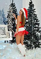 Домашний игровой соблазнительный костюм Снегурочки( шапочка, топ, юбка и меховые гетры-бахилы)