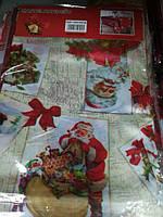 Скатерть новогодняя праздничная атласная 100*150 см Санта с Подарками