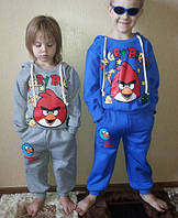 """Тёплый спортивный костюм на флисе для мальчика 3-4 года """"Злые птицы"""" на рост 95-100 см"""