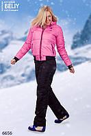 Зимний костюм женский розовый матовый