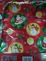 Скатерть новогодняя праздничная атласная 150*200см Снеговики с Сантой