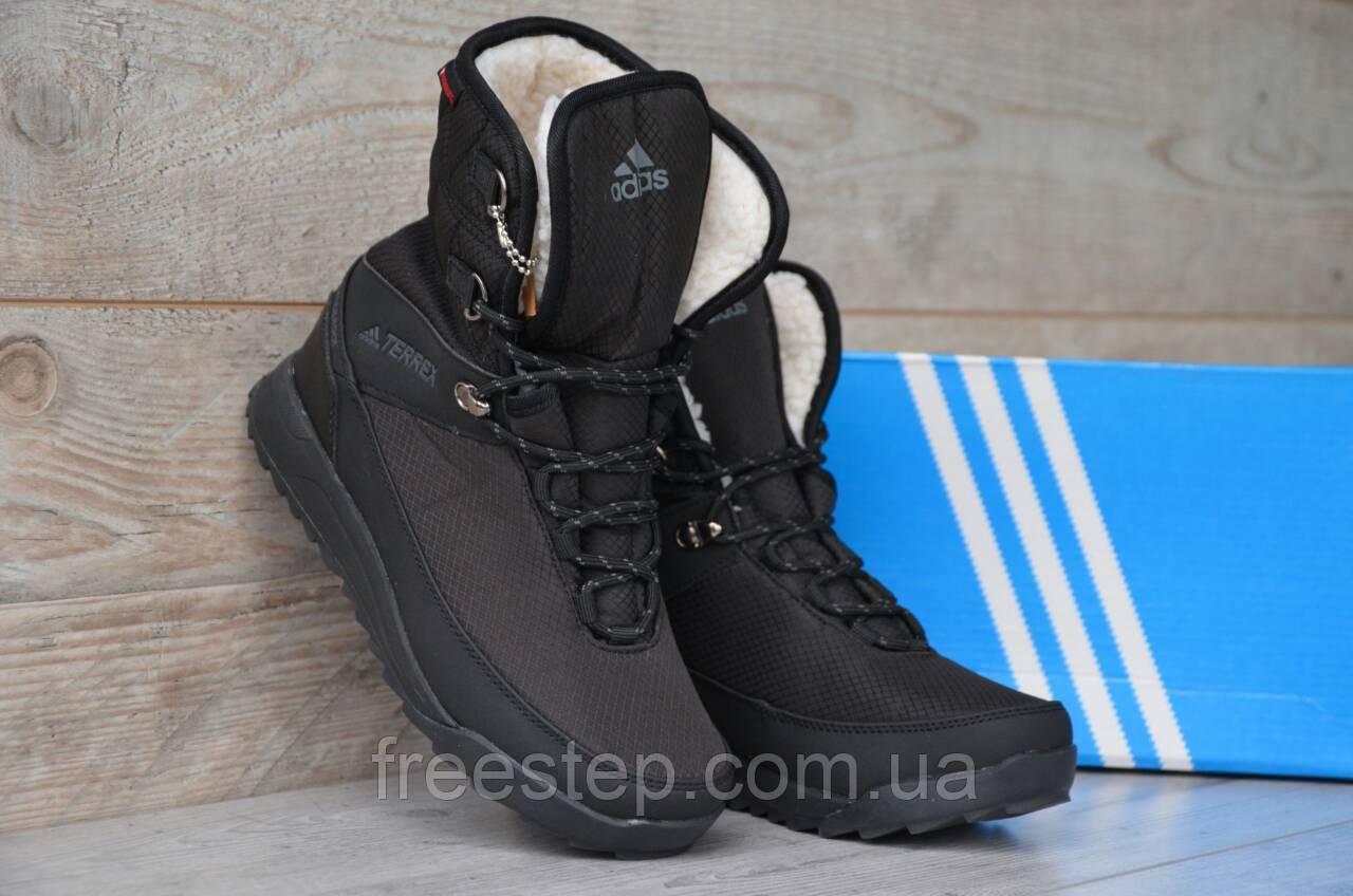 15de38f4bb02 Женские Зимние Сапоги Adidas в стиле Terrex 2 черные кожа мех овчина , фото  1