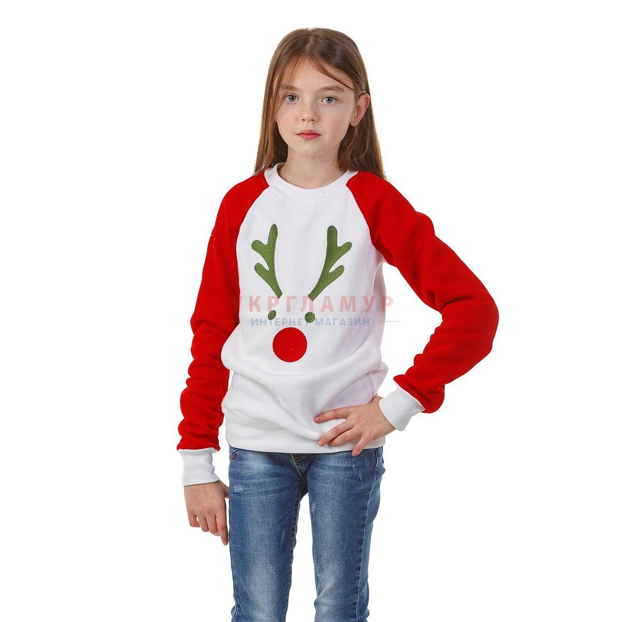 Вышитый свитшот для девочек Рождественский Олень