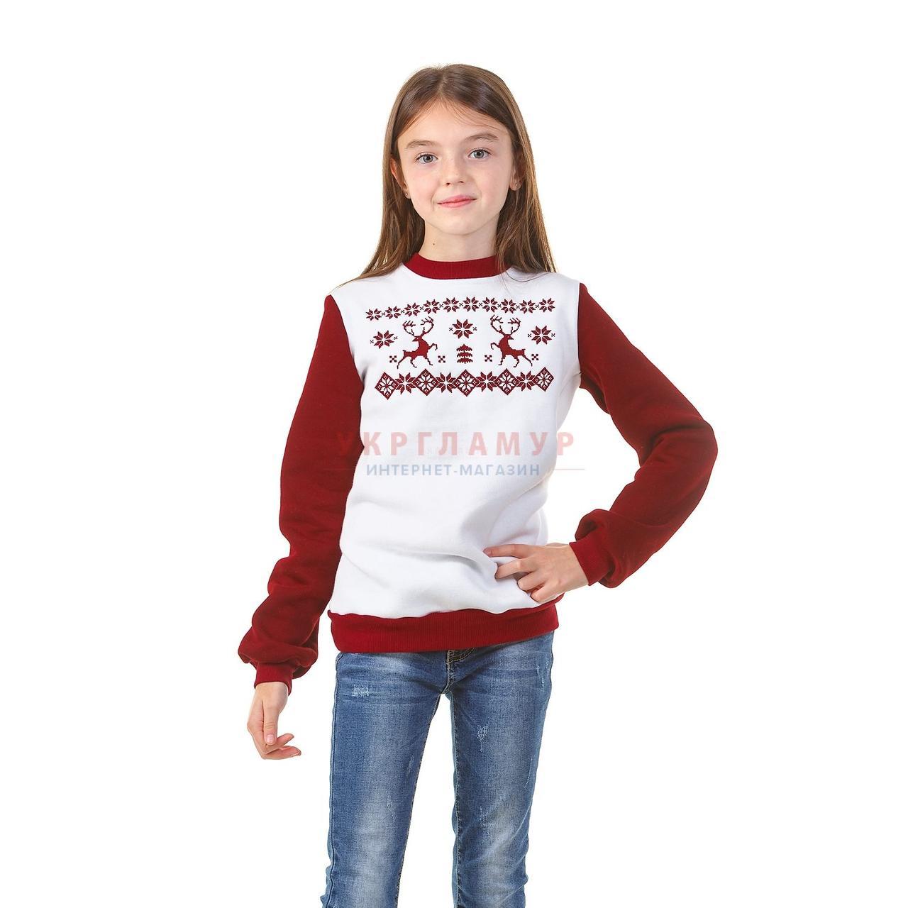 Вышитый свитшот для девочек Олени