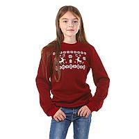 Вышитый бордовый свитшот для девочек Олени, фото 1