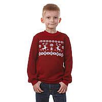 Вышитый бордовый свитшот для мальчиков Олени