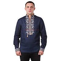 Мужская вышитая рубашка со стойкой и длинным рукавом, фото 1