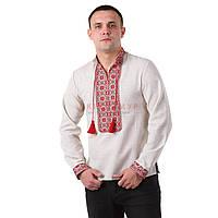 Мужская вышитая рубашка со стойкой и длинным рукавом