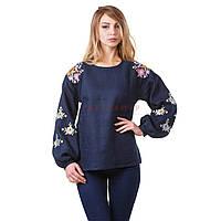 Вышитая женская дизайнерская блуза синяя с белыми цветами, фото 1