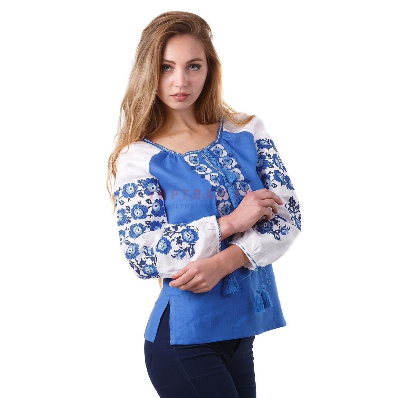 Вышитая женская дизайнерская блуза синяя с белыми цветами