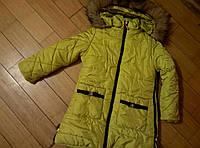 Пальто зимнее мех для девочки 7-10 лет