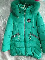 Пальто зимнее мех для девочки 7-9 лет