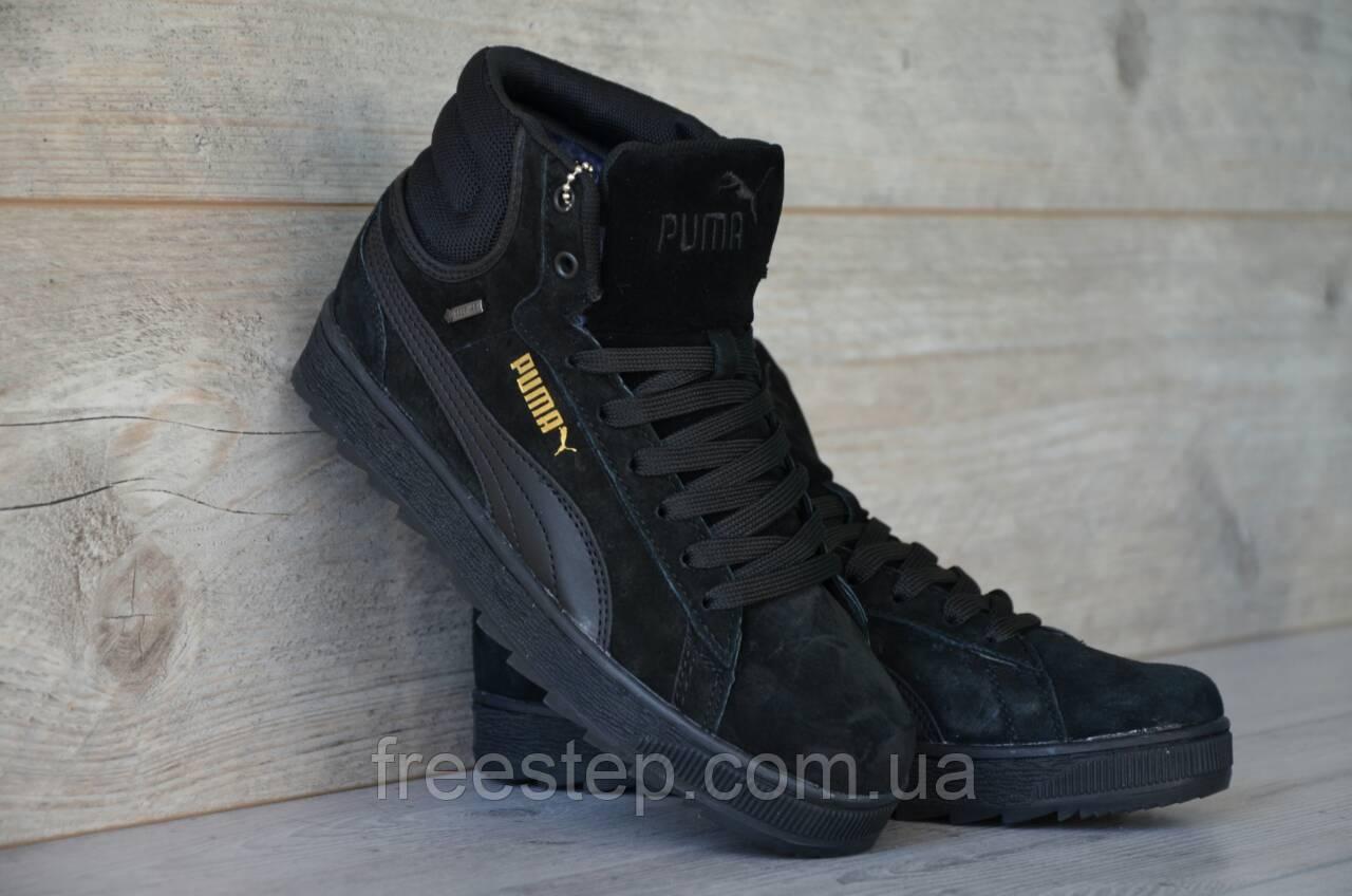 1b73692d329b Зимние женские кроссовки в стиле Puma высокие замша мех цигейка черные -  Интернет-магазин