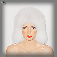 Белая песцова шапка ушанка с хлястиками
