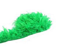 Перья индюка Зеленые на ленте 12-15 см/50 см, фото 1
