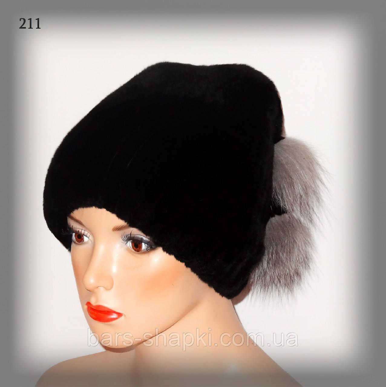 Женская шапка из меха Rex Rabbit (черная с отделкой из чернобурки)